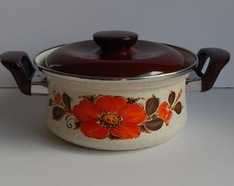 1970s Soup Pot by Sanko Ware Show Pans / Brown Speckles with Orange Flowers