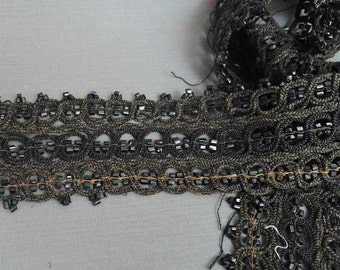 Antique Black Beaded Victorian Lace Trim, 1-5/8 yards Remnant 1800s