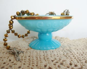 vintage blue glass soap dish pedestal trinket dish bristol blue avon