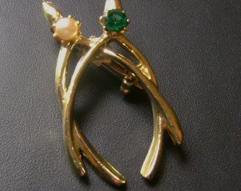 Double Wishbone - Gold Tone - Brooch/Pin