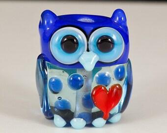 Blue Valentine Owl Lampwork Bead
