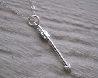 Arrow Necklace- Sterling Silver, Charm, Chain, Gift, Simple, Everyday,