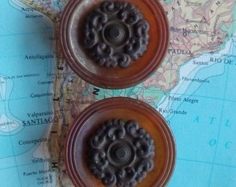 SALE! 2 Art Nouveau flower round metal knobs w/ amber-butterscotch bases