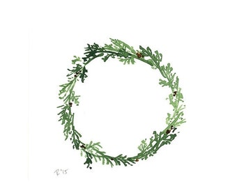SALE Cedar Wreath, Original Watercolour Painting, Square, Green