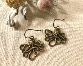 Octopus Earrings Octopus Tentacles Beach Earrings Pirate Jewelry Nautical Jewelry Antique Brass Sea Animal Lightweight Summer Jewelry Gift