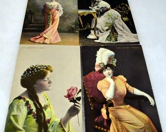 Lot of 4 Antique Postcards -  Early Actresses - Billie Burke, Virginia Harned, Lulu Glaser and Margaret Leslie - Bamforth & Co.  England