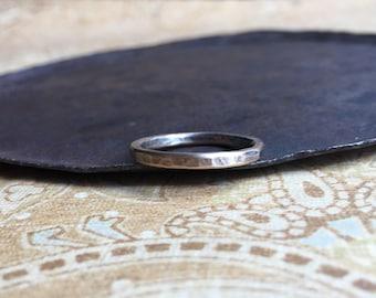 rustic 2mm wedding ring. 14K yellow gold