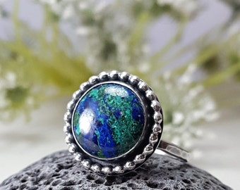 Gorgeous Azurite Ring Sterling Silver Ring 12mm stone