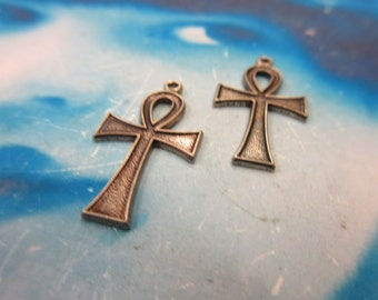 Brass Ox Plated  Ankh Charms 2050BOX x2