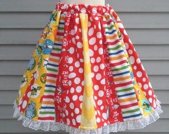 Ready to Ship Custom Adult Cat in Hat Dr Seuss Woman Tween Teacher Librarian Women Full Skirt 22 inches long