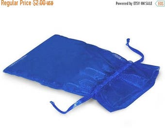 Spring Sale 10% off CLEARANCE 10 Pack Sheer Royal Blue Organza Drawstring Bags  2.75 X 4 Inch Size Great For Gifts, Favors, Sachets, Wedding