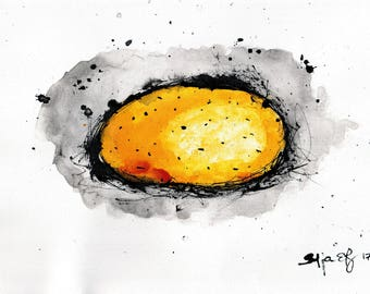 Potato drawing - A4 -  8x12in 20x30cm- food art - potato painting for kitchen 2