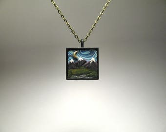 Mountain Necklace - Hand Sculpted Landscape - Moon and Star Necklace