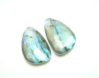 Blue Labradorite Faceted Asymmetrical Drops - Pair - 12x19mm