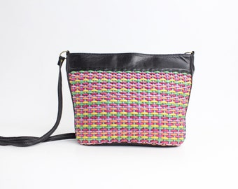 The Rainbow Connection | Vintage Woven Leather Bucket Bag | 80s Multicolor Leather Purse