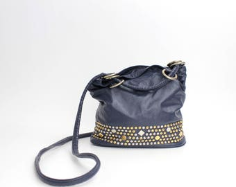 Vintage 80s Slouchy Leather Bucket Bag | Studded Leather Crossbody Bag | Atalla Navy Leather Purse