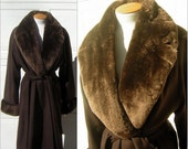 RESERVED for Catherine Vintage Maxi Coat Real Fur Sheared Beaver & Warm Camel's Hair - Long Size 12 - New Old Stock with Tags MINT