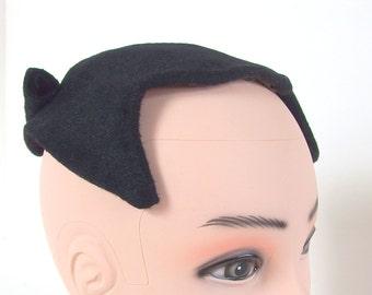 Vintage Black Faux Fur Half Hat, Clip Hat