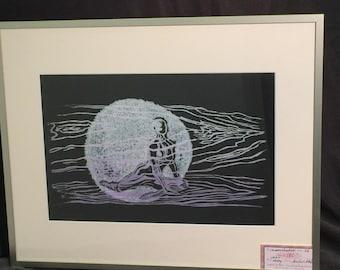 FRAMED 16x20 Color Art Woodcut Original Print Moonshadow Pearl Pigment Woman Moon Black Purple