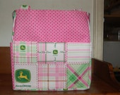 john deere pink green plaid tractor tote bag/purse/ diaper bag