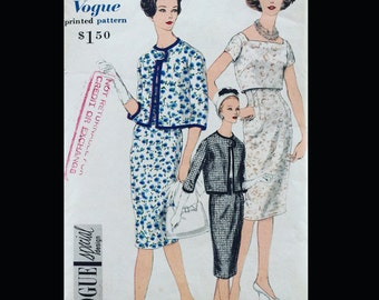 Vintage 60s Vogue  Jackie Sexy Shaeth Wiggle Dress Suit w/  Cropped Bolero Popover Jacket Seeing Pattern 4096 B34