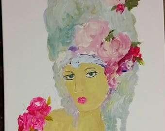 Lady, headdress, floral crown roses, pink, purple, black, aqua, bohemian