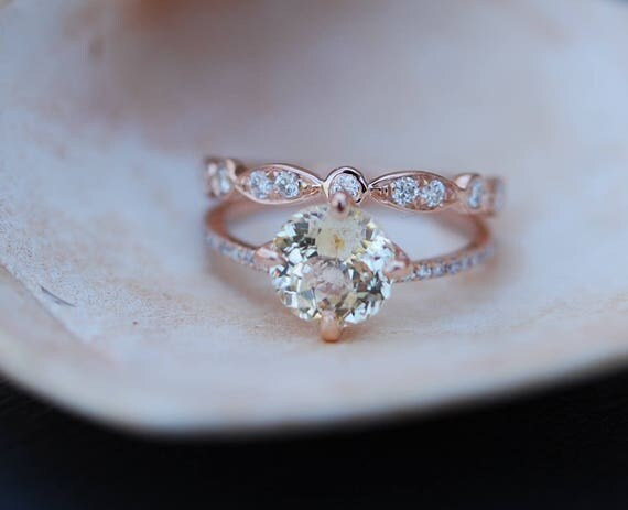 Rose gold engagement ring. 2.11ct round champagne sapphire diamond ring. Double band engagement ring. Engagement rings by Eidelprecious.