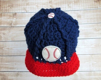 Baby Baseball Hat, Baby Baseball Cap, Baby Hat, Newborn Baseball Hat, Newborn Boy Hat, Baseball Photo Prop, Baby Baseball Beanie, Blue, Red