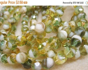 ON SALE Crystals 6mm White Yellow Aqua Picasso Czech Glass Fire polished Crystal Beads