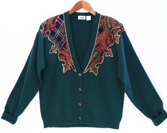 80's teal green AVANT GARDE cardigan // applique // overlay sweater // covered buttons // size M