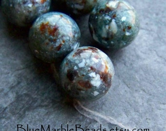 Vintage Bead, Lucite Bead, Teal Beads, Italian Lucite, Tribal Bead, Earthy Bead, Rustic Bead, Organic Bead, Boho Bead, Faux Stone, 16 Beads