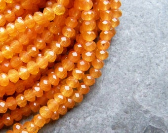 Chinese Crystal Beads, Crystal Rondelles, Orange Beads, Tassel Beads, Rondelle Beads, Boho Bead, 18 Inch Strand, 4mm, 138 Beads