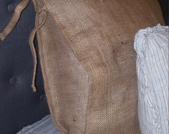 TWO BURLAP Euro Shams With Ties