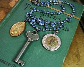 Blue Sky - Upcycled Assemblage Vintage Blue Rhinestone Skeleton Key Religious Medals Necklace
