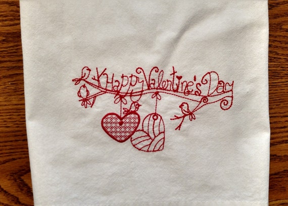 Items similar to valentine s embroidered dish towel flour
