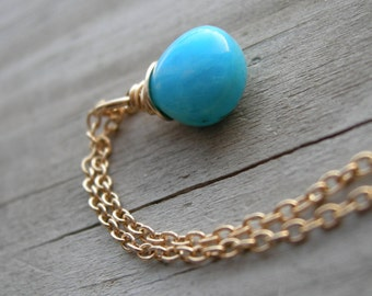 Turquoise Gold Wire Wrapped Necklace