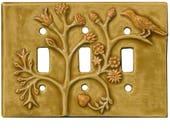 Persian Triple Toggle Ceramic Light Switch Cover in Apricot Gold Glaze
