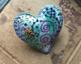 Purple Heart Brooch with Beads and Embroidery on Hand Painted Fabric