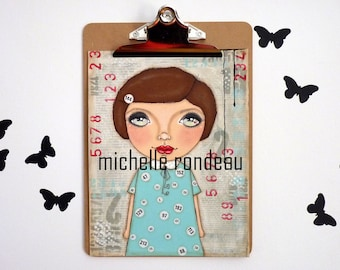 Original Mixed Media Brown Hair Girl Painting Art Journal Numbers