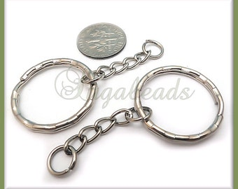 8 Silver Tone Keyrings with Chain - 8 Silver Key Chains 25mm PS12