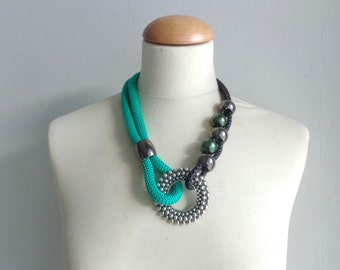 Green black tribal statement colorful necklace