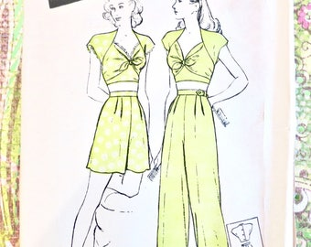 Vintage 1940s Womens Pajamas Pattern - Butterick 3370 - Two-Piece Midriff with Shorts or Trousers