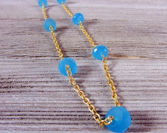 Blue Chalcedony & Gold Necklace, Gemstone Jewelry, Chalcedony Jewelry