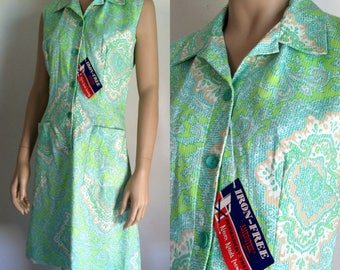 Vintage Dress - 1960s Lime Green Print Sleeveless Day Dress