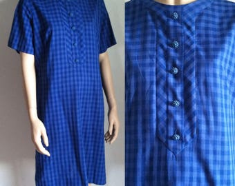 Vintage 1960s Dress - Blue Gingham 60s Shift House Day Dress - LG