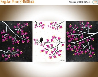 "Painting Romantic birds art Wall decor wall art Acrylic painting Impasto Palette Knife wall hangings canvas art ""Rosy Dream"" by qiqigallery"