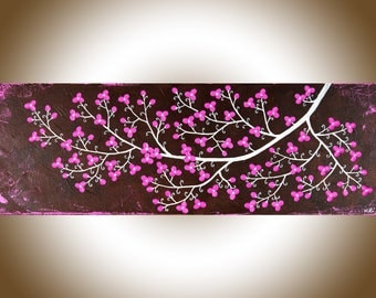 """Pink brown white flowers painting wall art wall decor Canvas art home decor wall hangings shabby chic """"Pretty in Pink"""" by qiqigallery"""