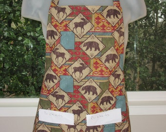 aprons for women - aprons for men - mens apron - tribal animals