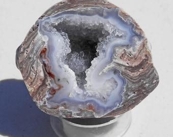 DG-48   Utah Dugway Geode Blue Fortification Agate Crystal Polished Specimen