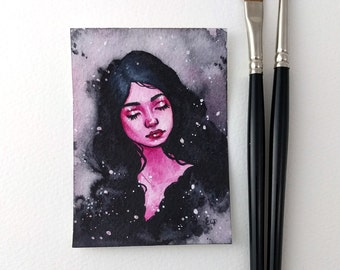 Original watercolor and gouache ACEO